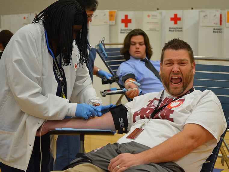 Assistant principal Joshua Peters giving blood at the school blood drive on November 14.