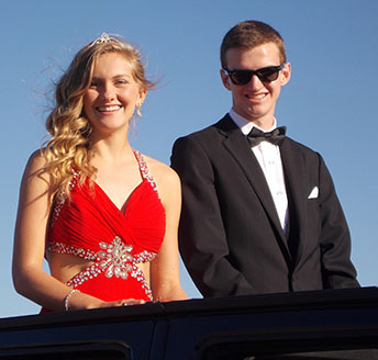 On October 2, 2015, the Homecoming Candidates rode in the parade before the game.  Pictured seniors  Jordyn Eskijian and Collin Monsees.