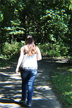 Junior, Marina Sakata, walks the trail on August 23.