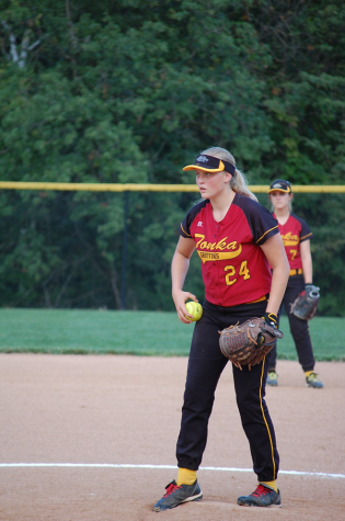 Sophomore Madison Jowett preparing for a pitch on Winnetonka's softball field on Sept. 24 against Kearney High School.