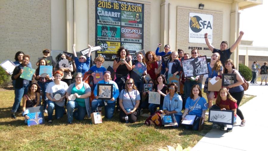The 25 students whose art work won an award at Missouri Western State University on Oct. 7.