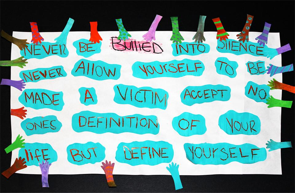 Bibiana Meza's bullying poster that won first place in her self development class.
