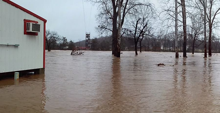 Flooding near the Joplin area in Missouri on December 28. This picture was taken of the Elk River around 2 p.m. about 15 hours after the river crested.