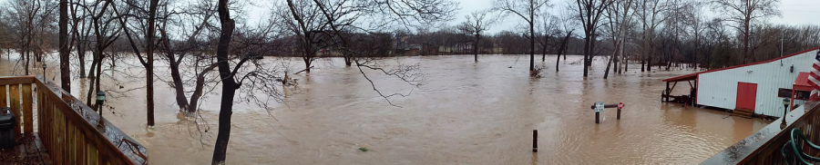 Flooding near the Joplin area in Missouri on December 28. The Joplin area received about 9 inches of rain. This picture was taken of the Elk River around 2 p.m. about 15 hours after the river crested.