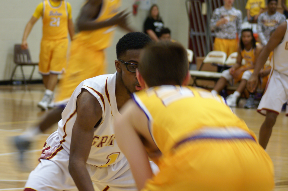 Senior Jimmie Todd playing in the Pack the House basketball game on Feb. 19.