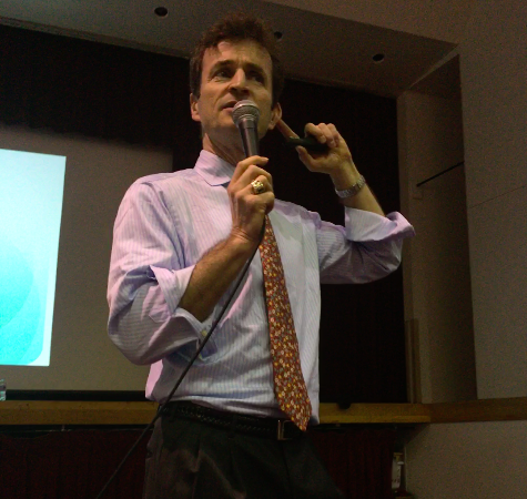John Baylor speaking to students in the auditorium on Tuesday Feb. 2.