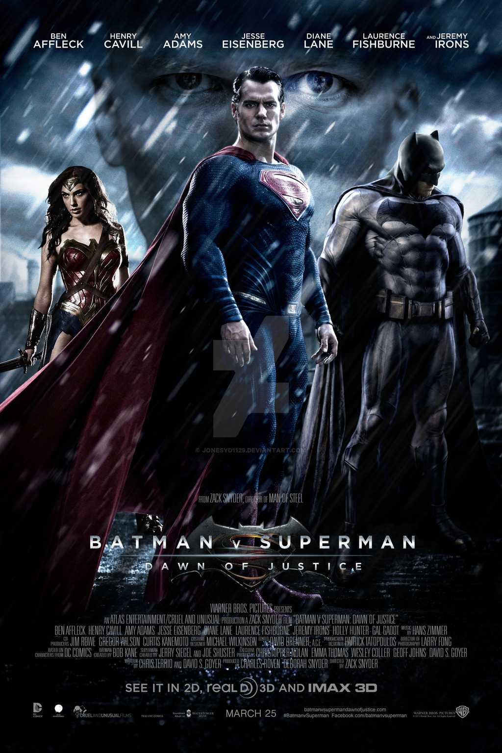 The official Batman vs Superman movie poster
