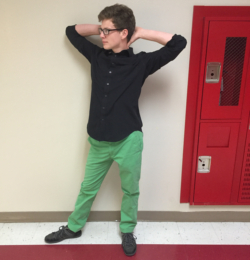Senior Dominic Rizzo wearing green pants in support of St. Patrick's Day on March 17.