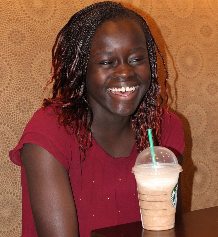 Junior Emma Evans drinking coffee at Starbucks on March 7.