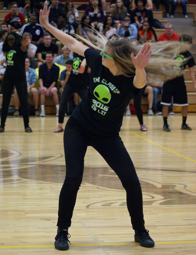 Senior Sophia Timmermeyer dancing in the spring sports pep rally on May 6.