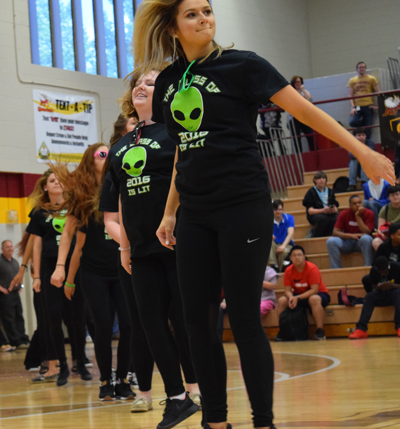 The senior girls dancing in the spring sports pep rally on May 6.