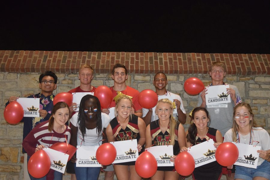 Homecoming candidates at the military appreciation game on Sept 2. The king candidates (left to right) are Eldridge Villegas, Bradley Willis, Dakota Taylor, Darius Campbell, Daulton Freeman and not pictured is Jessi Mizner. The queen candidates (left to right) are Francesca Valente, Emanuella Evans, Zoe Goss, Grace Taylor, Sally Dishman and Kamryn Cain.