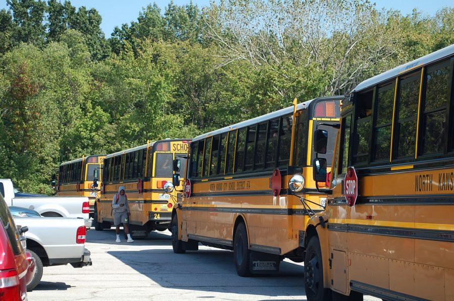 The+buses+are+lined+up+for+dismissal+ready+to+take+students+home+on+Sept.+27.