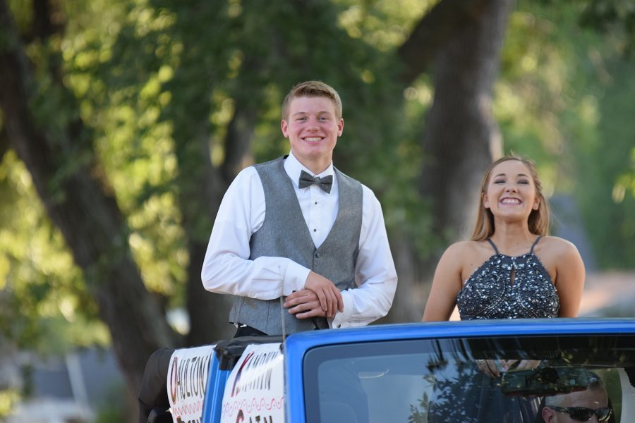Homecoming+candidates+++Kamryn+Cain+and+Daulton+Freeman+in+the+homecoming+parade+on+Sept.+23.+