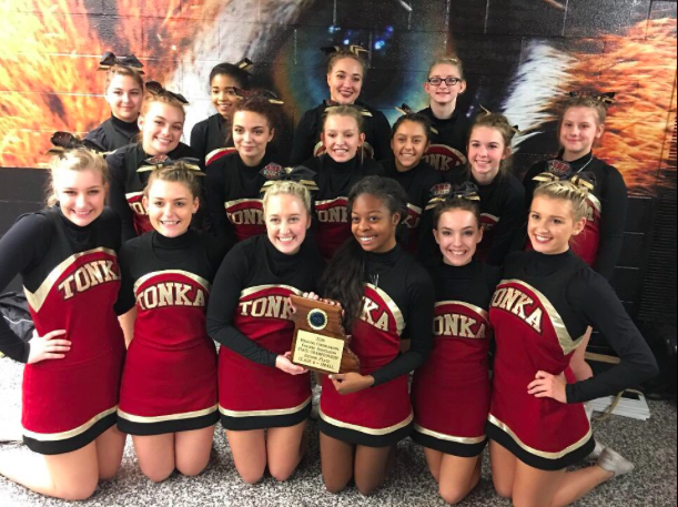 1.The Winnetonka cheer team displays the trophy after placing second at the state competition at the Hearnes Center in Columbia, Mo., on Nov. 5. Back row left to right: Cassie Pedrino, Jayla Howard, Aubrey Tolander, Emily Harper and Madison Renfro. Middle row left to right: Makenzie Jackson, Miah Ashley, Anna Timmermeyer, Emily Grady and Skyla Daniels. Bottom row left to right: Jessica Gebauer, Madison Burlington, Zoe Goss, Susie Dackorson, Sally Dishman and Grace Taylor.