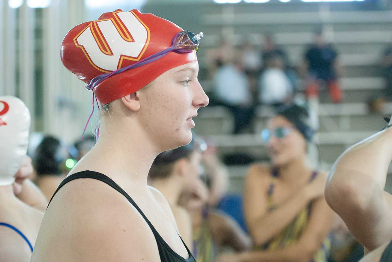 Junior Dara Fitzmaurice before a race during the Holiday Invite swim meet, a swim team fundraiser on Dec. 10.