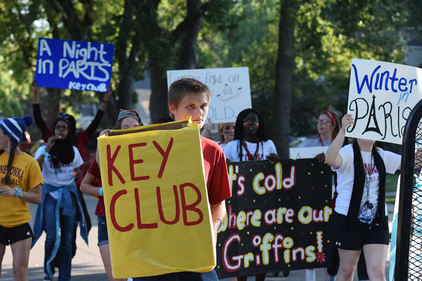 Junior Jerry Keeney walking in the homecoming parade with Key Club on Sept. 23.