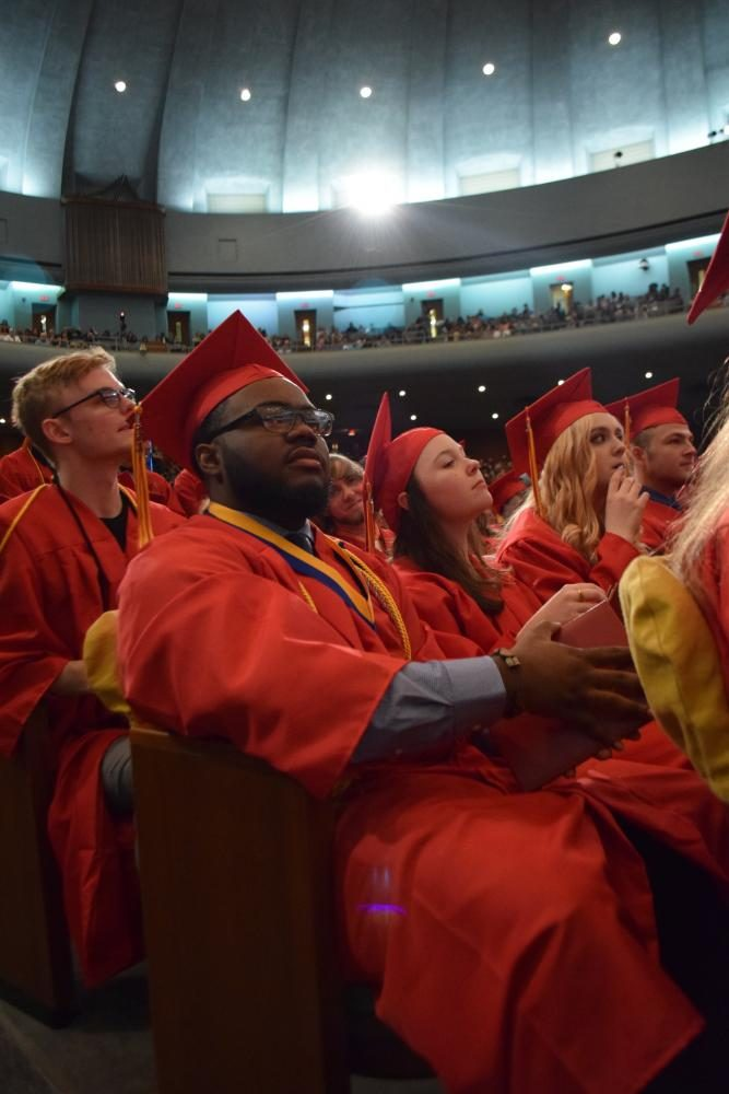 Senior Wesley Bertha sits with his classmates at graduation. He is one of the 320 seniors who leave Tonka with their legacies in 2017.