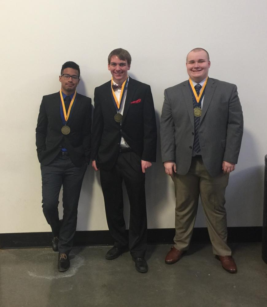 Seniors Nathan Huffman, Phoung Luu and Ben Giebler place in top 10 and recieve 8th place overall at the FBLA state competition in Springfield on April 2-4.