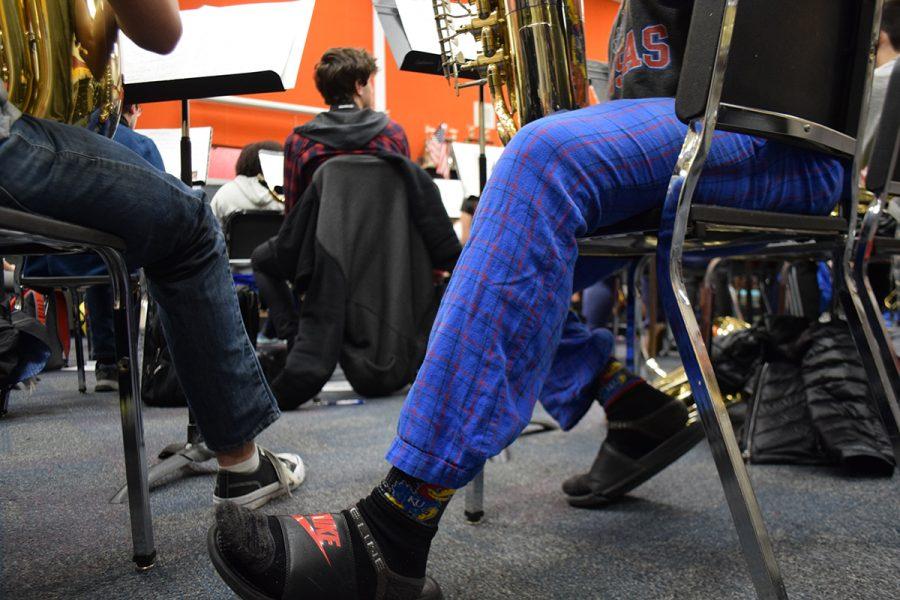 Senior Steven Findley wears pajama pants on Jan. 8 spirit day.