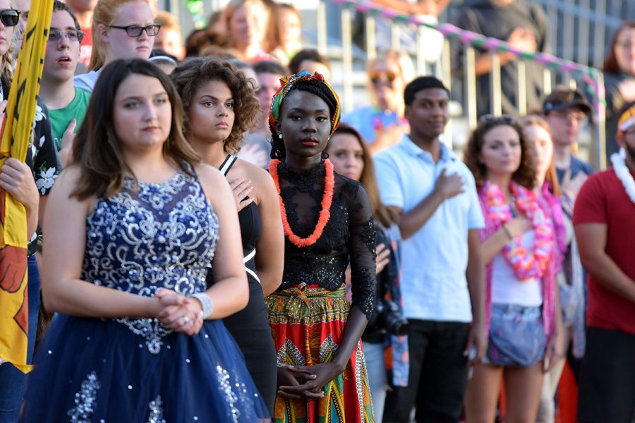 Senior Lily Abdulla stands at the homecoming game on Sep. 29 where she was a member of the homecoming court.
