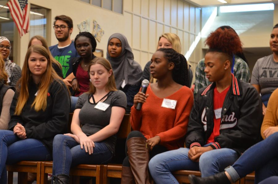 Junior Asase Jewel answers representative questions while sitting on the student AVID panel. The panel consisted of students involved in the AVID program through the elective class.