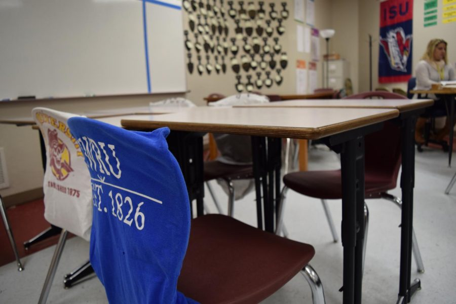 With so many students missing school due to illness, a group of chairs in B4 remains empty.