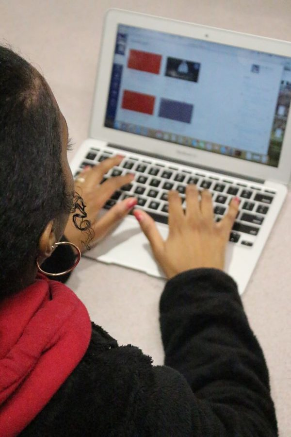 A student uses a MacBook Air to access Canvas, a program that allows teachers to upload their classroom content online.
