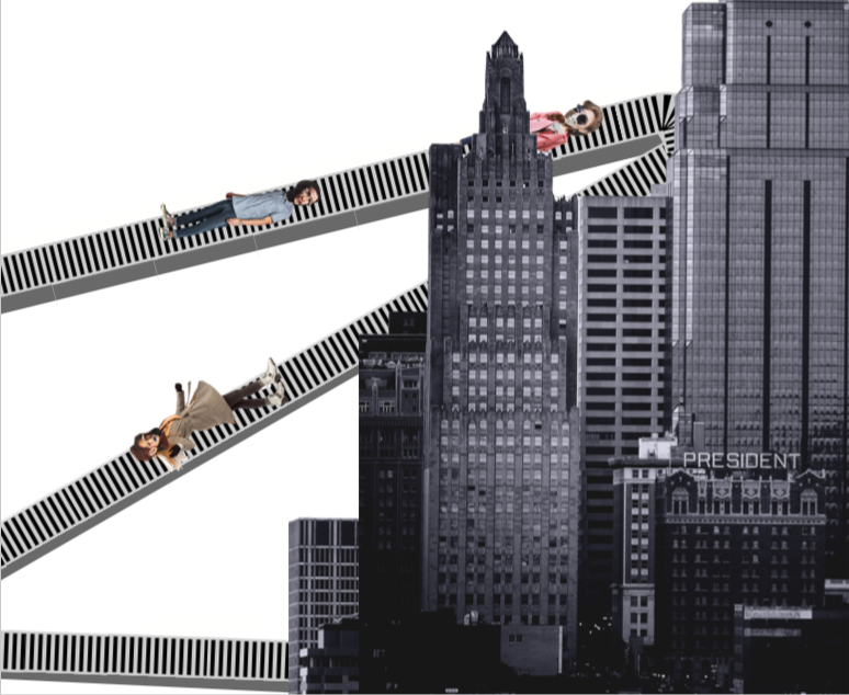 An illustration showing people being funneled into Kansas City. Created by Elizabeth Payton.