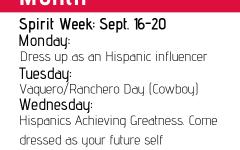 National Hispanic Heritage Month begins, first spirit week: Sept. 16-20