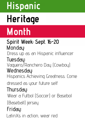 National Hispanic Heritage Month begins, first spirit week: Sept. 16-20