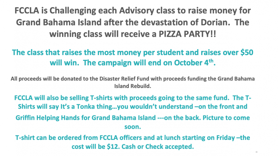 FCCLA fundraising to support hurricane relief efforts for Grand Bahama Island