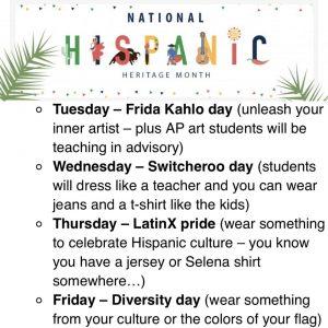 Spirit-Week; National Hispanic Heritage Month