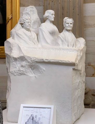 This group portrait monument by Adelade Johnson was carved from marble and placed in the United States Capitol building.  The carving is of the  pioneers of the woman suffrage movement, which won women the right to vote in 1920.  It was sculpted from an 8-ton block of marble in Carrara, Italy. The monument features portrait busts of three movement leaders: Elizabeth Cady Stanton, Susan B. Anthony and Lucretia Mott.  The fourth space is reserved for our future first woman president. Photo by Shannon Le Grand.